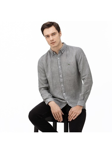 Lacoste Erkek Slim Fit Ekose Gömlek CH0010.10G Gri